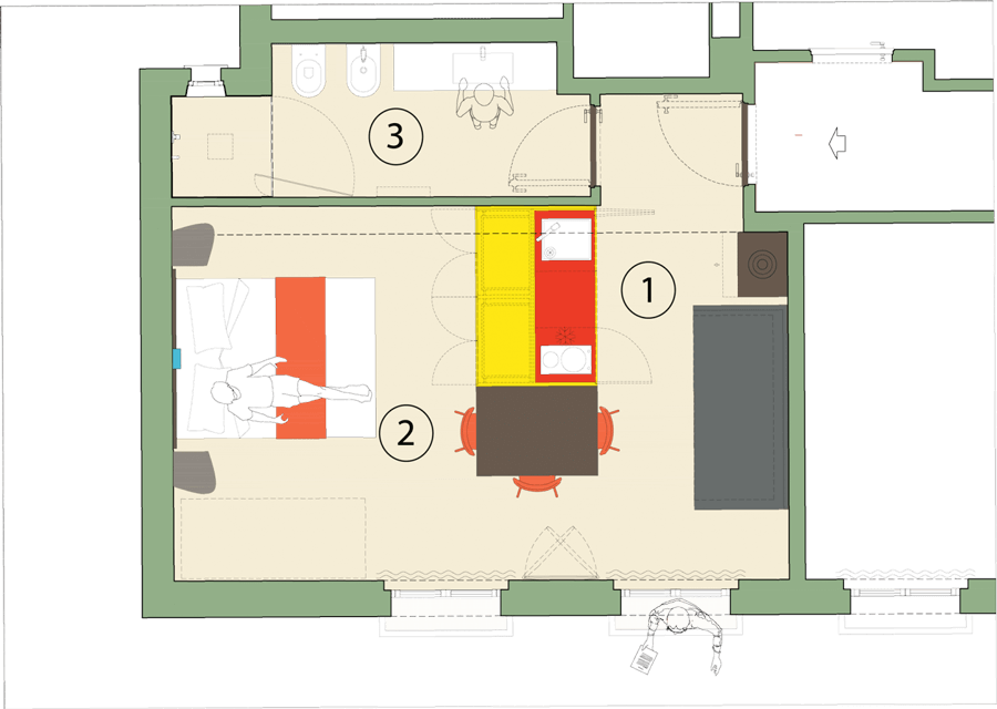 Plan studio apartment residence senigallia 02